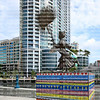 "Tall life-sized bronze statue titled ""Florida, a Seminole Girl"" located at Stranahan Landing, directly across the New River from the Stranahan House."