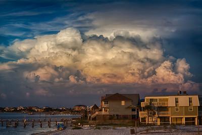 beach view clouds bldgs beach-