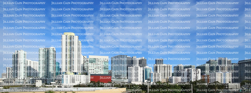 Panoramic skyline view of downtown Miami as seen from Interstate Highway I-95.