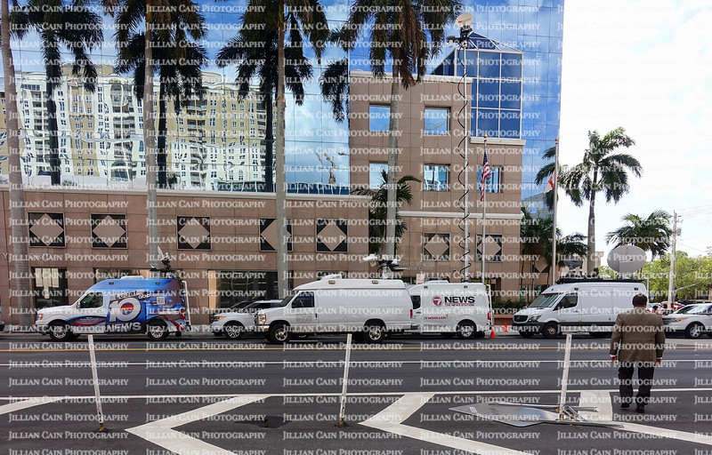 EDITORIAL USE ONLY:    Local and national TV media vans surround the School Board Building as the School Board Members vote on keeping Superintendent Runcie.