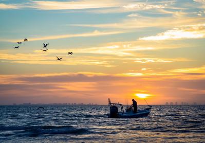 Sanibel Fisherman and Pelicans