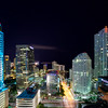 Single Cloud Passing By Downtown Miami At Night
