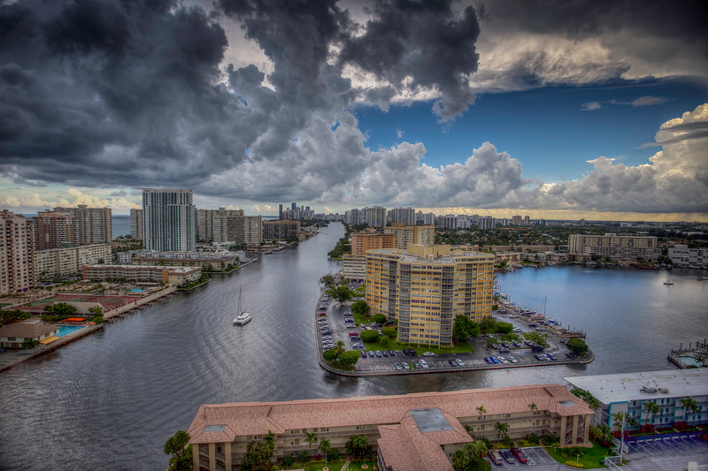 Intracoastal Waterway With Boat, Hallandale Beach
