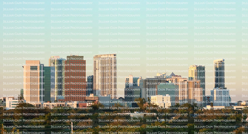 Fort Lauderdale downtown skyline aglow as the sun sets.