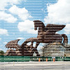 Massive bronze sculpture of Pegasus slaying the dragon is under construction at Gulfstream Park Racing and Casino