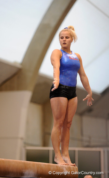 (Casey Brooke Lawson / Gator Country) UF junior Courtney Gladys showcases beam skills during the University of Florida gymnastics fan day in Gainesville, Fla., on January 4, 2009.