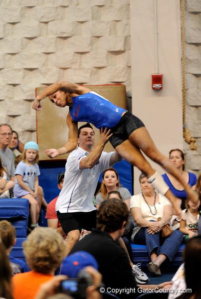 (Casey Brooke Lawson / Gator Country) Junior Maranda Smith showcases tumbling skills during the University of Florida gymnastics fan day in Gainesville, Fla., on January 4, 2009.