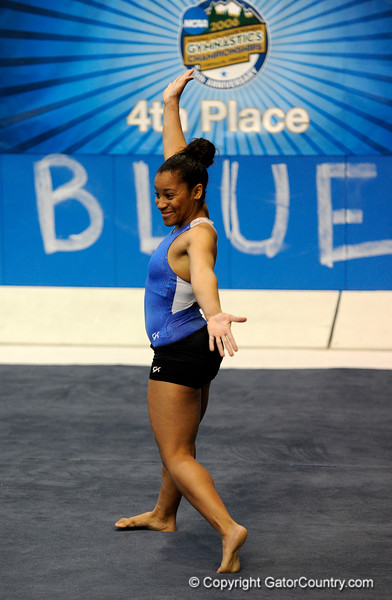 (Casey Brooke Lawson / Gator Country) UF junior Melanie Sinclair showcases floor skills during the University of Florida gymnastics fan day in Gainesville, Fla., on January 4, 2009.
