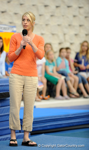 (Casey Brooke Lawson / Gator Country) UF Head Coach Rhonda Faehn speaks about the new 2009 gymnastics teams during the University of Florida gymnastics fan day in Gainesville, Fla., on January 4, 2009.