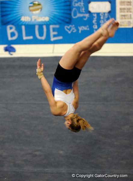 (Casey Brooke Lawson / Gator Country) UF freshman Amy Ferguson showcase floor skills during the University of Florida gymnastics fan day in Gainesville, Fla., on January 4, 2009.