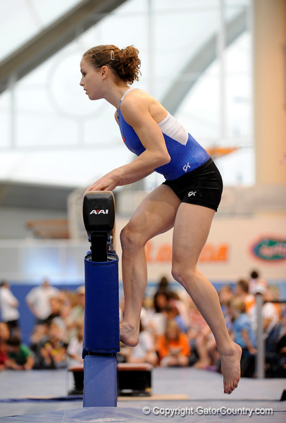 (Casey Brooke Lawson / Gator Country) UF junior Rebekah Zaiser showcases a beam demonstration during the University of Florida gymnastics fan day in Gainesville, Fla., on January 4, 2009.