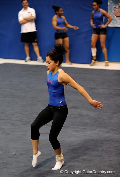 (Casey Brooke Lawson / Gator Country) UF junior Amanda Castillo showcases floor skills during the University of Florida gymnastics fan day in Gainesville, Fla., on January 4, 2009.