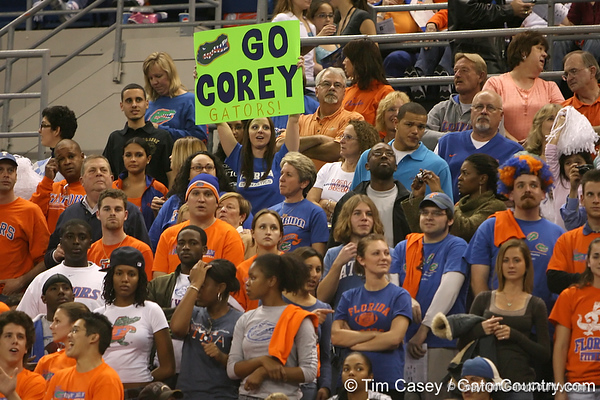 photo by Tim Casey<br /> <br /> Florida gymnastics fans during the Gators' 196.850-196.825 loss to the Georgia Bulldogs on Friday, January 18, 2008 at the Stephen C. O'Connell Center in Gainesville, Fla.