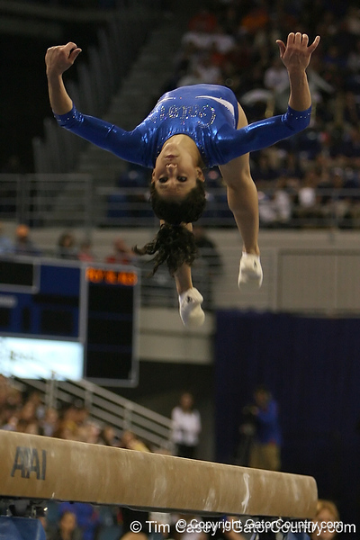 photo by Tim Casey<br /> <br /> Florida sophomore gymnast Amanda Castillo (Sanford)  during the Gators' 196.850-196.825 loss to the Georgia Bulldogs on Friday, January 18, 2008 at the Stephen C. O'Connell Center in Gainesville, Fla