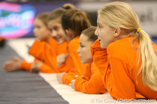photo by Tim Casey<br /> <br /> Florida gymnastics flower girls during the Gators' 196.850-196.825 loss to the Georgia Bulldogs on Friday, January 18, 2008 at the Stephen C. O'Connell Center in Gainesville, Fla.