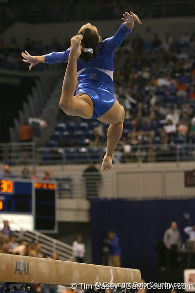 photo by Tim Casey<br /> <br /> Florida freshman gymnast Alicia Goodwin (Dallas, Texas) during the Gators' 196.850-196.825 loss to the Georgia Bulldogs on Friday, January 18, 2008 at the Stephen C. O'Connell Center in Gainesville, Fla.