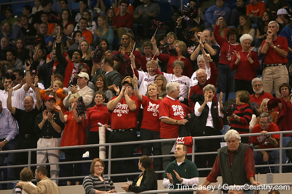 photo by Tim Casey<br /> <br /> Georgia gymnastics fans during the Gators' 196.850-196.825 loss to the Georgia Bulldogs on Friday, January 18, 2008 at the Stephen C. O'Connell Center in Gainesville, Fla.