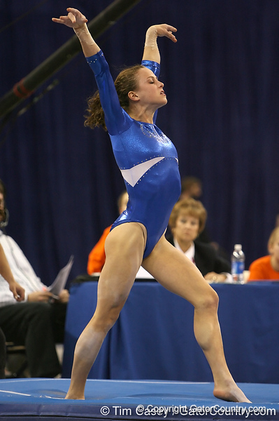 photo by Tim Casey<br /> <br /> Florida sophomore gymnast Rebekah Zaiser (Mars, Pa.) during the Gators' 196.850-196.825 loss to the Georgia Bulldogs on Friday, January 18, 2008 at the Stephen C. O'Connell Center in Gainesville, Fla.
