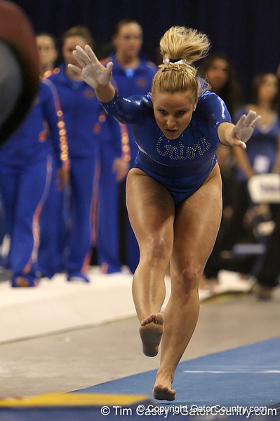 photo by Tim Casey<br /> <br /> Florida sophomore gymnast Courtney Gladys (Winter Garden) during the Gators' 196.850-196.825 loss to the Georgia Bulldogs on Friday, January 18, 2008 at the Stephen C. O'Connell Center in Gainesville, Fla.