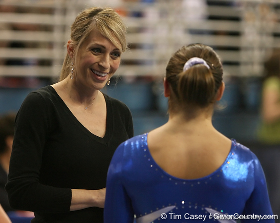photo by Tim Casey<br /> <br /> Florida gymnastics coach Rhonda Faehn during the Gators' 196.850-196.825 loss to the Georgia Bulldogs on Friday, January 18, 2008 at the Stephen C. O'Connell Center in Gainesville, Fla.