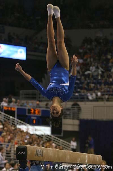 photo by Tim Casey<br /> <br /> Florida sophomore gymnast Amanda Castillo (Sanford)  during the Gators' 196.850-196.825 loss to the Georgia Bulldogs on Friday, January 18, 2008 at the Stephen C. O'Connell Center in Gainesville, Fla.