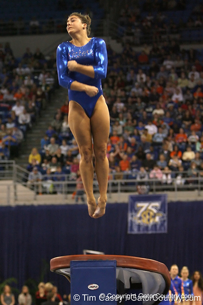 photo by Tim Casey<br /> <br /> Florida freshman gymnast Lynn Denblyden (Melbourne, Australia) during the Gators' 196.850-196.825 loss to the Georgia Bulldogs on Friday, January 18, 2008 at the Stephen C. O'Connell Center in Gainesville, Fla.