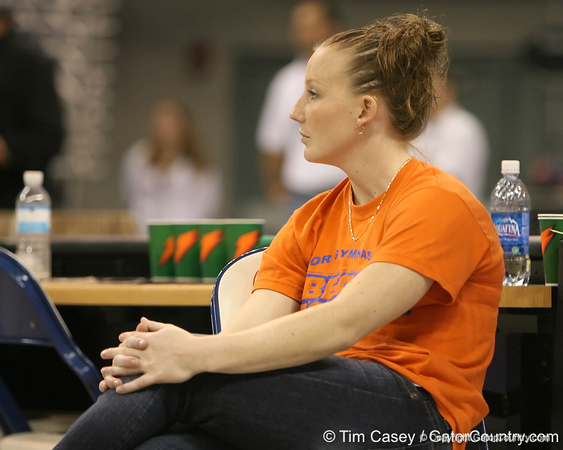 photo by Tim Casey<br /> <br /> Florida gymnastics alumna Katie Rue during the Gators' 196.850-196.825 loss to the Georgia Bulldogs on Friday, January 18, 2008 at the Stephen C. O'Connell Center in Gainesville, Fla.