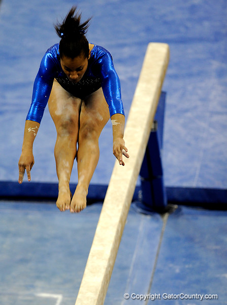 (Casey Brooke Lawson / Gator Country) Junior Melanie Sinclair competes on beam during the Gators victory over the Oklahoma Sooners in Gainesville, Fla., on January 9, 2009.