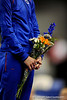 (Casey Brooke Lawson / Gator Country) Senior Corey Hartung holds flowers during the awards ceremony of the Gators victory over the Oklahoma Sooners in Gainesville, Fla., on January 9, 2009.