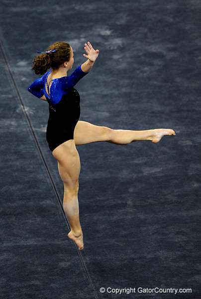 (Casey Brooke Lawson / Gator Country) Junior Rebekah Zaiser competes on floor during the Gators victory over the Oklahoma Sooners in Gainesville, Fla., on January 9, 2009.