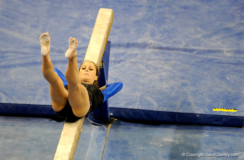 (Casey Brooke Lawson / Gator Country) Junior Rebekah Zaiser competes on beam during the Gators victory over the Oklahoma Sooners in Gainesville, Fla., on January 9, 2009.