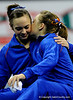 (Casey Brooke Lawson / Gator Country) Sophomore Alicia Goodwin and Junior Ashley Kerr whisper to each other  during the awards ceremony of the Gators victory over the Oklahoma Sooners in Gainesville, Fla., on January 9, 2009.