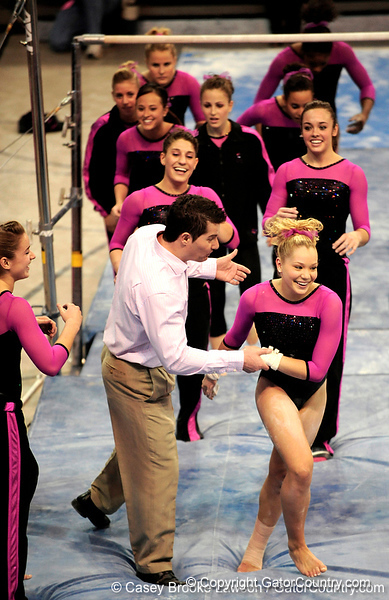 The University of Florida Gators defeat the LSU Tigers 196.725 to 195.05 in the Gators Link to Pink Event in Gainesville, Fla., on Friday, January 29, 2010. / Gator Country photo by Casey Brooke Lawson