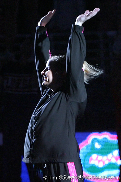 photo by Tim Casey<br /> <br /> Florida junior Courtney Gladys waves to the crowd before the Gators' 195.925-193.850 win against the Kentucky Wildcats on Friday, January 30, 2009 at the Stephen C. O'Connell Center in Gainesville, Fla.