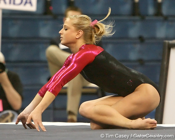 photo by Tim Casey<br /> <br /> Florida senior Corey Hartung earns a 9.7 on the floor exercise during the Gators' 195.925-193.850 win against the Kentucky Wildcats on Friday, January 30, 2009 at the Stephen C. O'Connell Center in Gainesville, Fla.