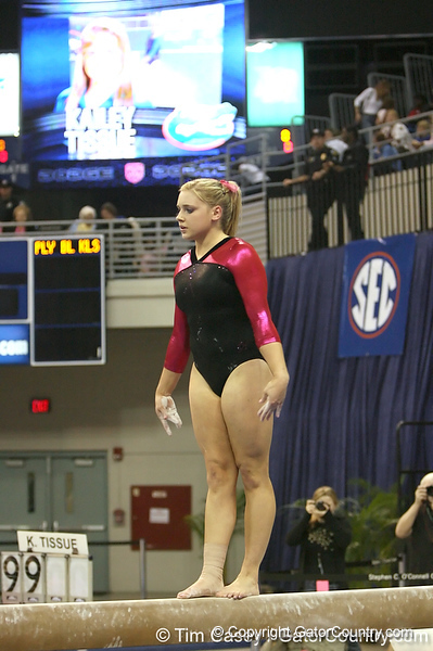 photo by Tim Casey<br /> <br /> Florida freshman Kailey Tissue earns a 9.725 on the beam during the Gators' 195.925-193.850 win against the Kentucky Wildcats on Friday, January 30, 2009 at the Stephen C. O'Connell Center in Gainesville, Fla.