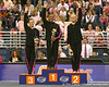 photo by Tim Casey<br /> <br /> Winners from the all-around competition wave during the awards presentation after the Gators' 195.925-193.850 win against the Kentucky Wildcats on Friday, January 30, 2009 at the Stephen C. O'Connell Center in Gainesville, Fla.