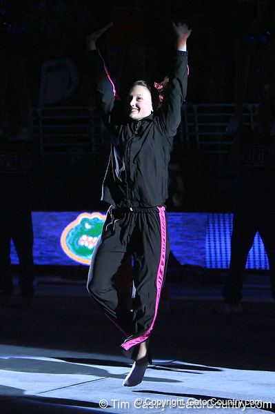 photo by Tim Casey<br /> <br /> Florida junior Ashley Kerr waves to fans before the Gators' 195.925-193.850 win against the Kentucky Wildcats on Friday, January 30, 2009 at the Stephen C. O'Connell Center in Gainesville, Fla.