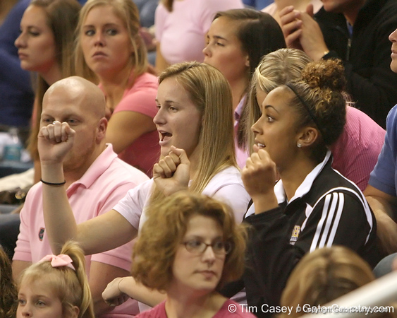photo by Tim Casey<br /> <br /> Florida fans cheer during the Gators' 195.925-193.850 win against the Kentucky Wildcats on Friday, January 30, 2009 at the Stephen C. O'Connell Center in Gainesville, Fla.