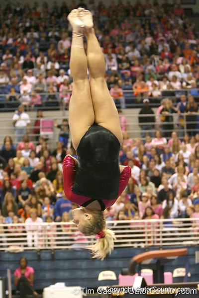 photo by Tim Casey<br /> <br /> Florida junior Courtney Gladys earns a 9.1 on the beam during the Gators' 195.925-193.850 win against the Kentucky Wildcats on Friday, January 30, 2009 at the Stephen C. O'Connell Center in Gainesville, Fla.