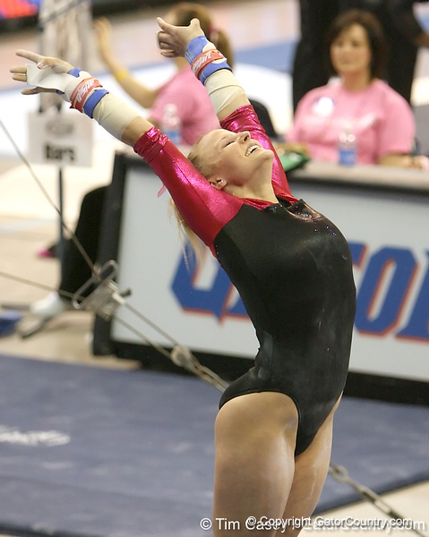 photo by Tim Casey<br /> <br /> Florida junior Courtney Gladys earns a 9.7 on the bars during the Gators' 195.925-193.850 win against the Kentucky Wildcats on Friday, January 30, 2009 at the Stephen C. O'Connell Center in Gainesville, Fla.