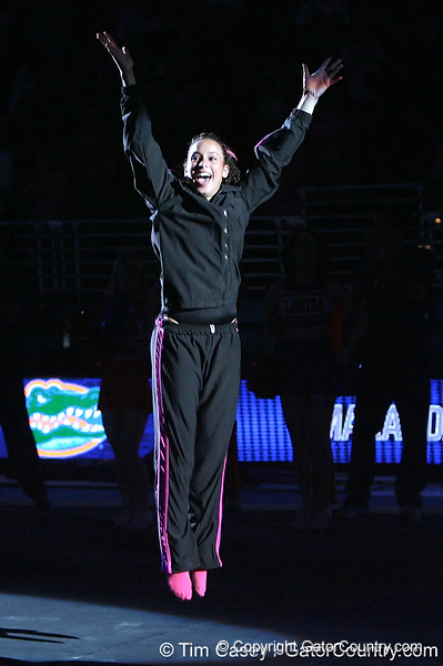 photo by Tim Casey<br /> <br /> Florida junior Maranda Smith waves to the crowd before the Gators' 195.925-193.850 win against the Kentucky Wildcats on Friday, January 30, 2009 at the Stephen C. O'Connell Center in Gainesville, Fla.