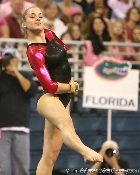 photo by Tim Casey<br /> <br /> Florida freshman Amy Ferguson earns a 9.8 on the floor exercise during the Gators' 195.925-193.850 win against the Kentucky Wildcats on Friday, January 30, 2009 at the Stephen C. O'Connell Center in Gainesville, Fla.