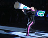 photo by Tim Casey<br /> <br /> Florida junior Melanie Sinclair pumps up the crowd before the Gators' 195.925-193.850 win against the Kentucky Wildcats on Friday, January 30, 2009 at the Stephen C. O'Connell Center in Gainesville, Fla.
