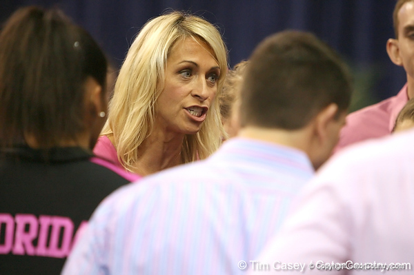 photo by Tim Casey<br /> <br /> Florida coach Rhonda Fahen talks to her team during the Gators' 195.925-193.850 win against the Kentucky Wildcats on Friday, January 30, 2009 at the Stephen C. O'Connell Center in Gainesville, Fla.