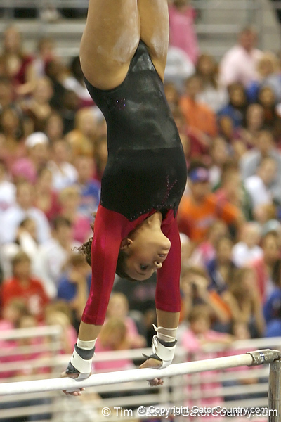 photo by Tim Casey<br /> <br /> Florida junior Maranda Smith earns a 9.9 on the bars during the Gators' 195.925-193.850 win against the Kentucky Wildcats on Friday, January 30, 2009 at the Stephen C. O'Connell Center in Gainesville, Fla.