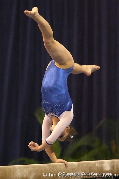 photo by Tim Casey<br /> <br /> Florida freshman Nicole Ellis earns a 9.7 on the balance beam during the No. 1-ranked Gators' 196.50-196.25 win against the No. 4-ranked Auburn Tigers on on Friday, January 16, 2009 at the Stephen C. O'Connell Center in Gainesville, Fla.
