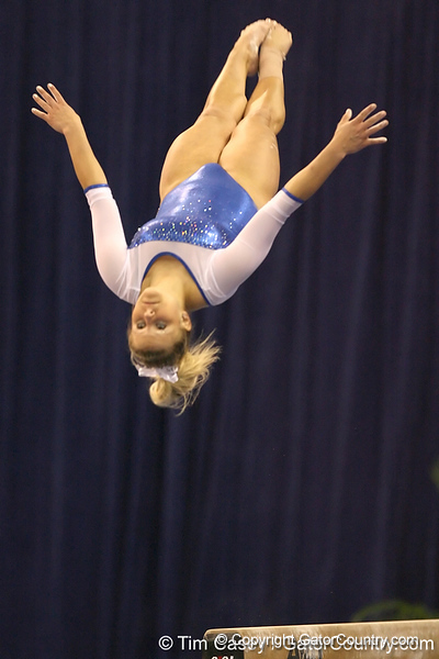 photo by Tim Casey<br /> <br /> Florida junior Courtney Gladys warms up on the balance beam during the No. 1-ranked Gators' 196.50-196.25 win against the No. 4-ranked Auburn Tigers on on Friday, January 16, 2009 at the Stephen C. O'Connell Center in Gainesville, Fla.