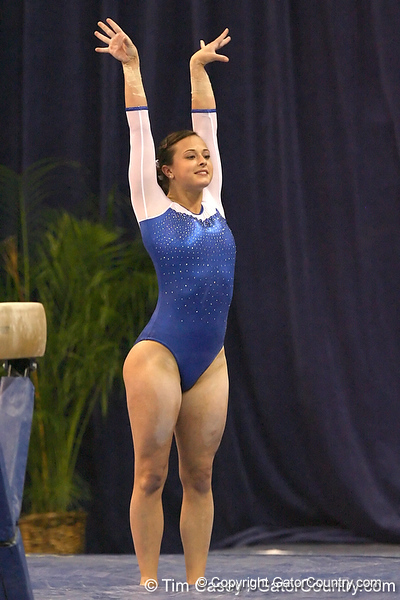 photo by Tim Casey<br /> <br /> Florida freshman Elizabeth Mahlich earns a 9.575 on the balance beam during the No. 1-ranked Gators' 196.50-196.25 win against the No. 4-ranked Auburn Tigers on on Friday, January 16, 2009 at the Stephen C. O'Connell Center in Gainesville, Fla.