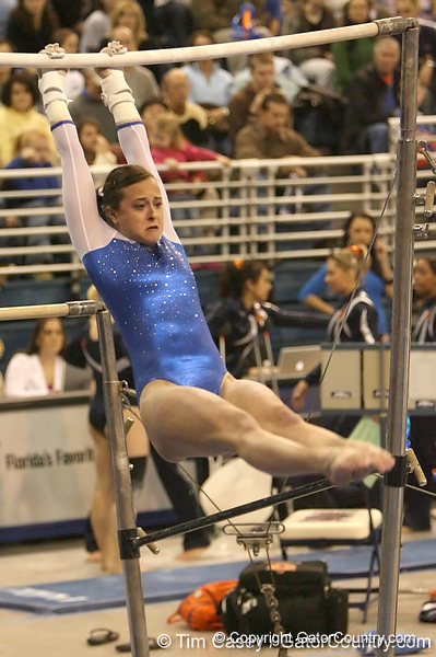 photo by Tim Casey<br /> <br /> Florida freshman Elizabeth Mahlich earns a 9.8 on the uneven bars during the No. 1-ranked Gators' 196.50-196.25 win against the No. 4-ranked Auburn Tigers on on Friday, January 16, 2009 at the Stephen C. O'Connell Center in Gainesville, Fla.